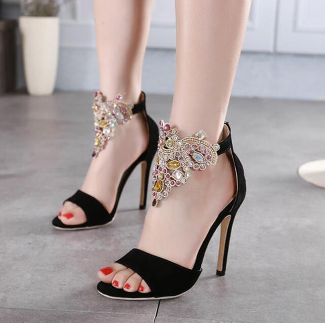 MANMITU5-Free Доставка Европейский моде открытым носком летние каблуки женщины сандалии sexy girl моды горный хрусталь камни обувь обувь 11 см