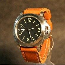 dc9a48a6e2e PARNIS mostrador preto Asiático 6497 17 44mm jewels movimento Do Vento Mão  Mecânica relógio luminoso verde dos homens relógios M..