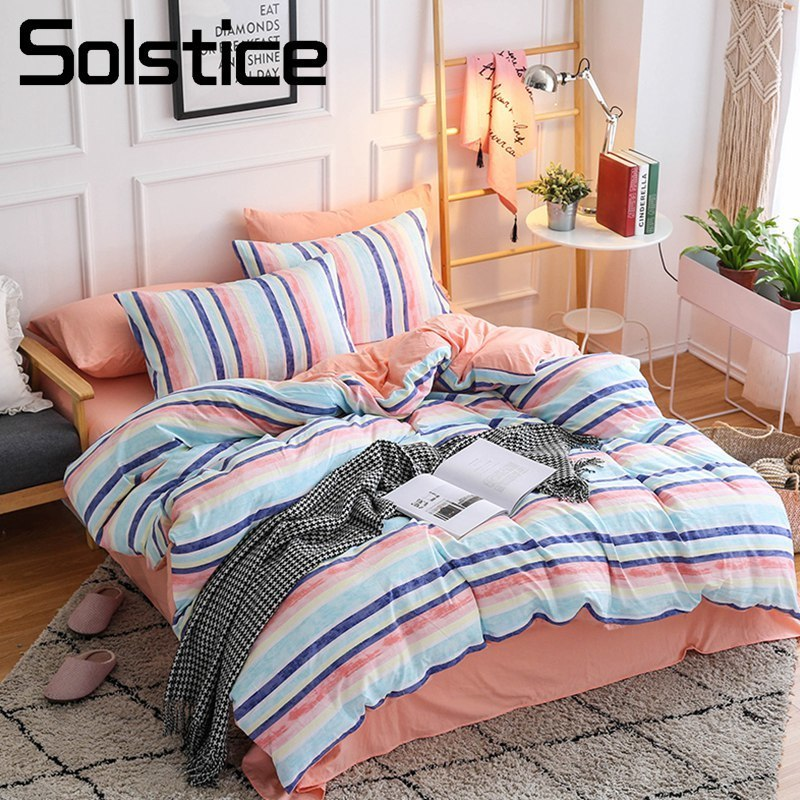 Solstice Home Textile Stripe Sport Simple Bedding Set Kid Teen Girls Bedclothes Bed Sheet Pillowcase Duvet Cover Queen Full 4Pcs