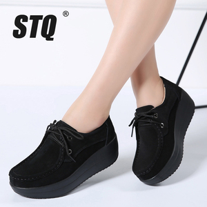 Image 5 - STQ 2020 Autumn Women Flats Shoes Thick Soled High Platform Shoes Leather Suede Ladies Casual Shoes Lace Up Flats Creepers 3235