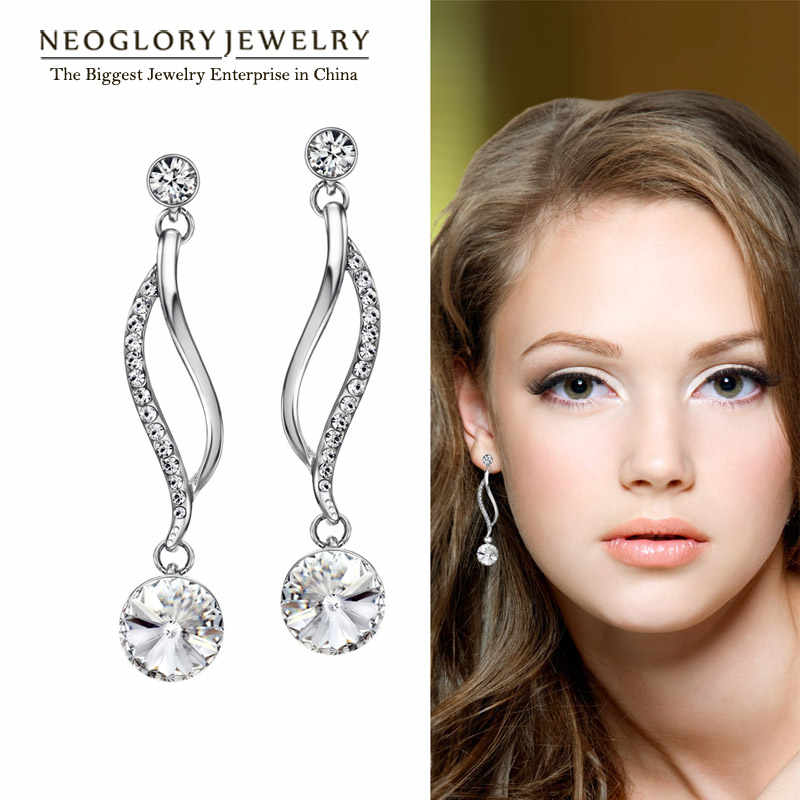 Neoglory Chandelier Austrian Crystal Light Yellow Gold Color Long Dangle Earrings For Women Girl Brand Gifts Jewelry 2018 New P1