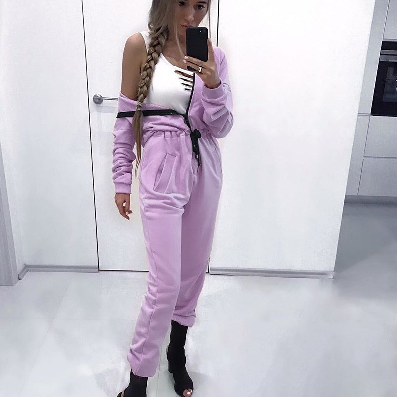:2018 Womens Long Sleeve Hoodies Jumpsuit Ladies Casual Sporting Playsuit Solid Rompers Overalls Femme