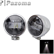2 Pcs Chrome Motorcycle EMARK LED Auxiliary Lamp Foglight Moto Passing Spot Light Lamps for Harley Bobber Chopper Honda Yamaha цена 2017