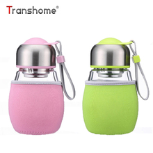 Transhome Glass Bottle For Water With Tea Strainer 420ml Borosilicate Glass Cute Sports Tea Lemon Fruit Bottle Of Water With Bag