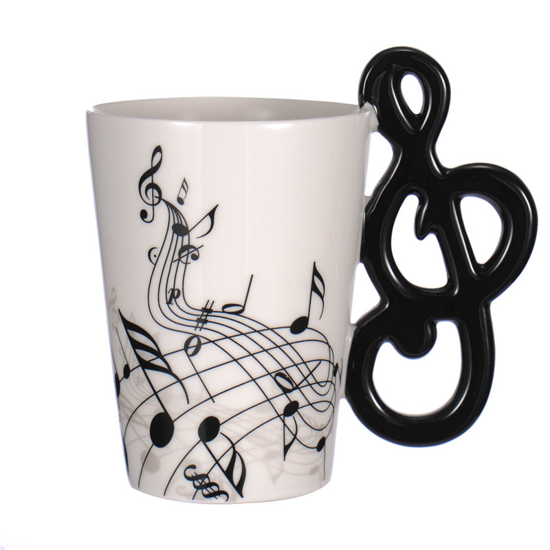 Creative Guitar Ceramic Cup Personality Music Note Milk Juice Lemon Mug Coffee Tea Cup Home Office Drinkware Unique Gift 300ml