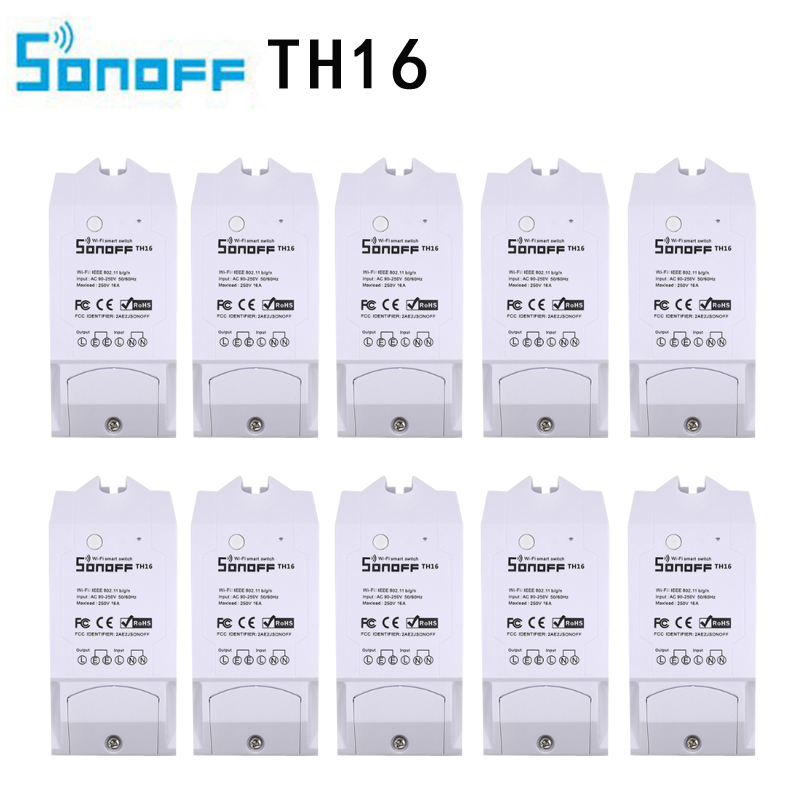 10pcs TH16 Sonoff Home Automation kit Works Wifi Switch Monitoring Temperature Humidity Wifi Smart Switch With