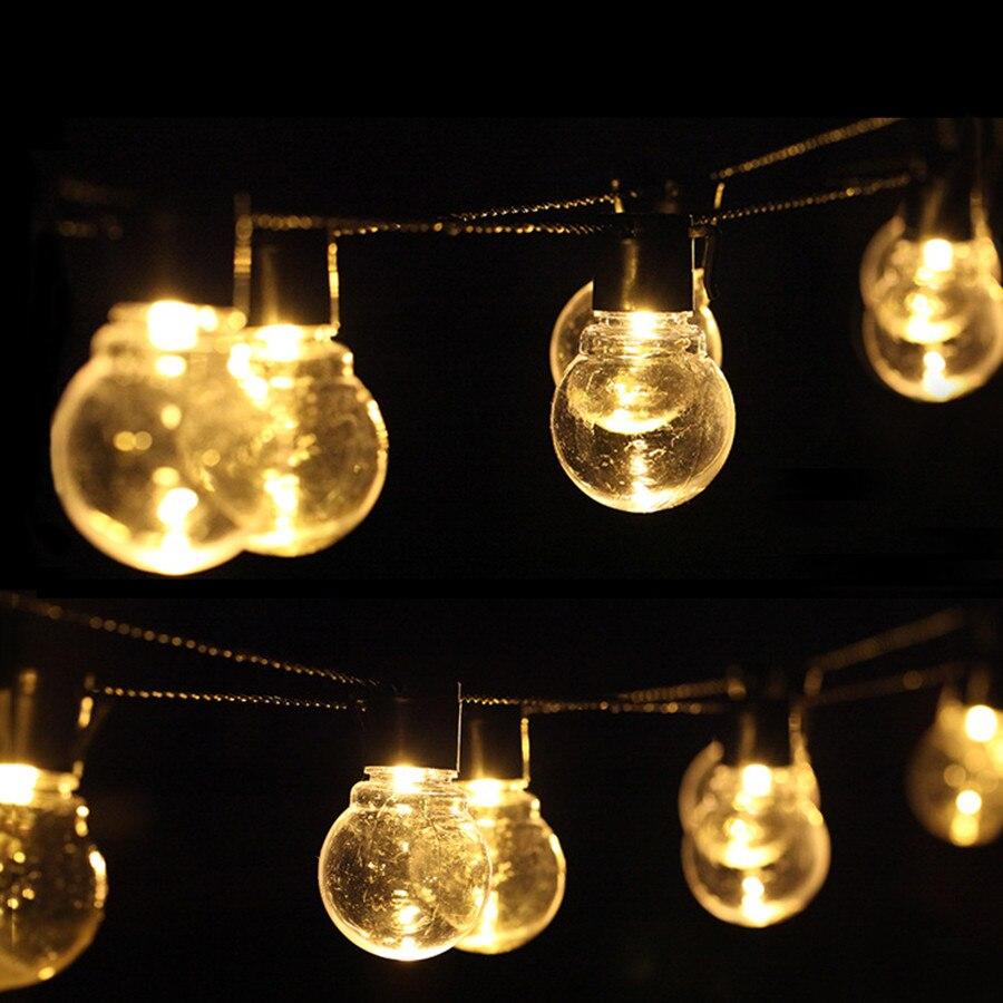 Thrisdar 6.5M 30 LED Clear Globe Bulbs Solar Led String Fairy Light Outdoor Solar Globe Fairy Light Patio Party Wedding Garland