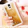 Kisscase para samsung s5 casos moda glitter líquido dinâmico areia quicksand case para samsung galaxy s5 i9600 sv tampa transparente saco