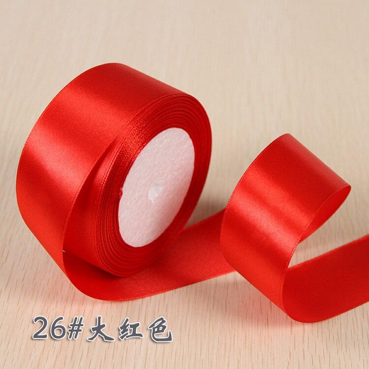 6 мм 1 см 1,5 см 2 см 2,5 см 4 5 см атласными лентами DIY искусственный шелк розы Ремесла поставок швейной фурнитуры Скрапбукинг материал - Цвет: Red