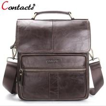 CONTACT'S Men's Genuine Leather Messenger Bag men Crossbody Shoulder Bag For Men Business Fashion 2017 Travel Bags