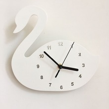 Nordic Cute Swan crown shape Wall Clock Monochrome for Children kids room decoration Figurines gift Photography