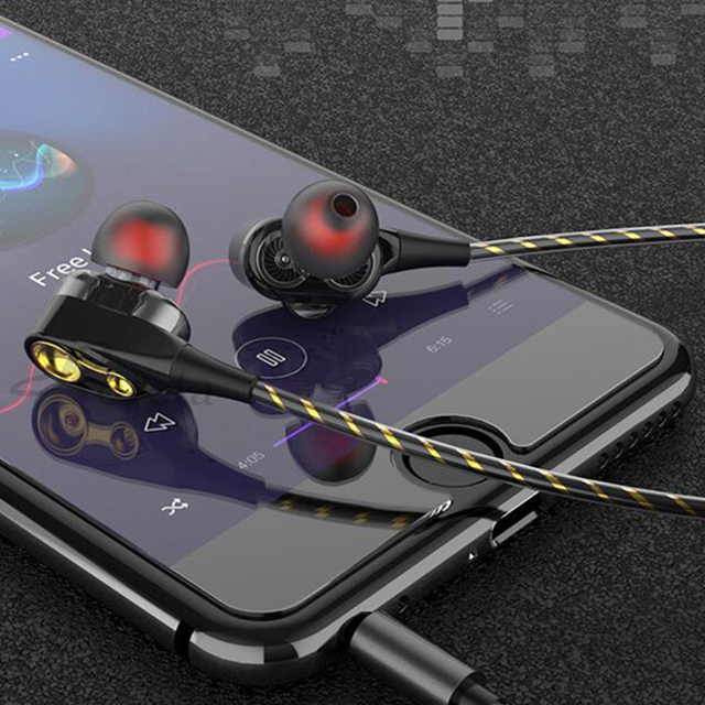 Roreta Dual Drive Stereo Wired earphone In-Ear Sport Headset With Mic mini Earbuds Earphones For iPhone Samsung Huawei Xiaomi 4