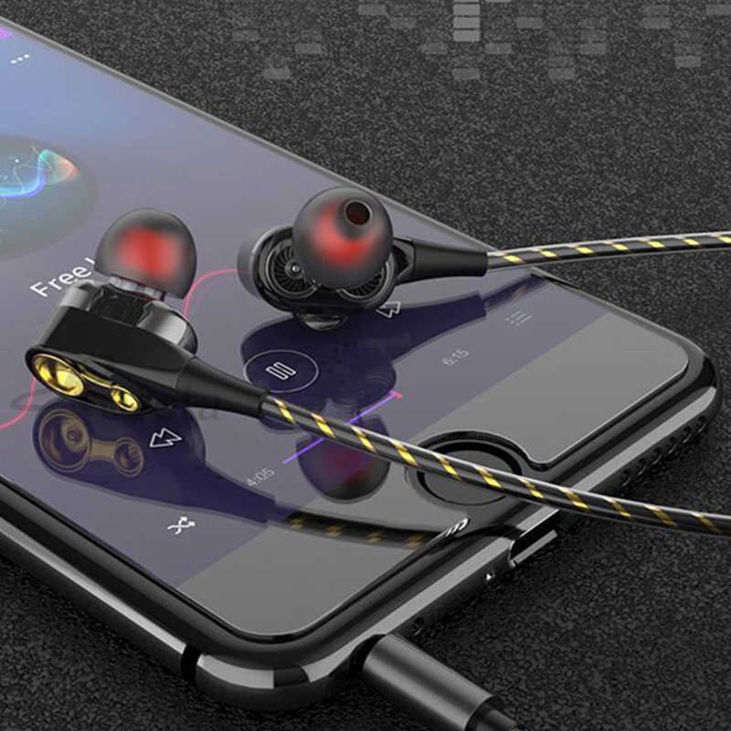 Roreta デュアルドライブステレオ有線イヤホンで耳ヘッドセットマイクミニイヤ Iphone サムスン Huawei 社 Xiaomi