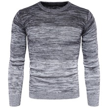Gradual Change Color Printed Knitted Sweater Men Tops Men Pullover Long Sleeve Winter Men Slim Fit Casual Knitting Tops Romper цена