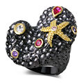 DC1989 New Women VIntage Fashion Irregular Shape Rings Amethyst Siam & Clear Cubic Zircon Bezel Setting  Gold & Black Plated