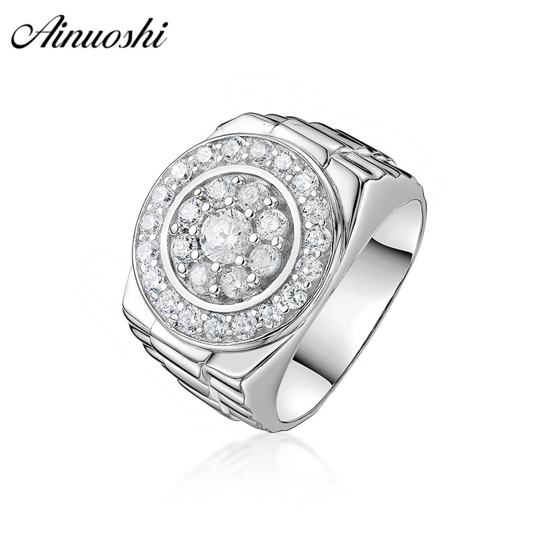 AINOUSHI Classic 925 Sterling Silver Wedding Engagement Round Halo Rings Male Silver Anniversary Party Men Rings