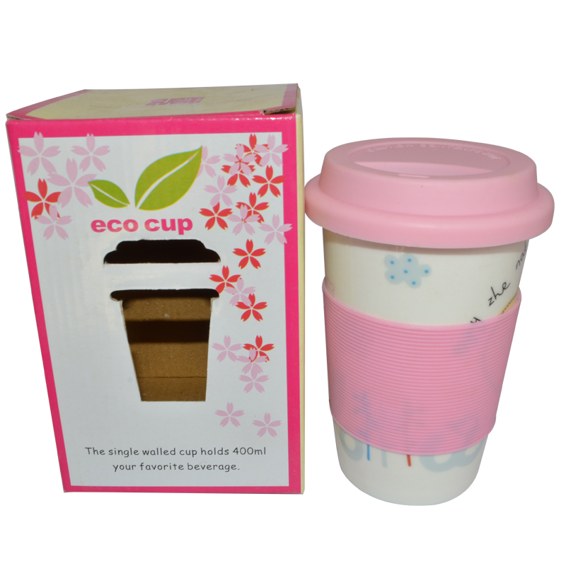 Hot 350ml Coffee Mug Cups Single Layer Silicone Sleeve Cup Tea Tumbler Ceramic With Lid Caneca Canecas In Mugs From Home Garden