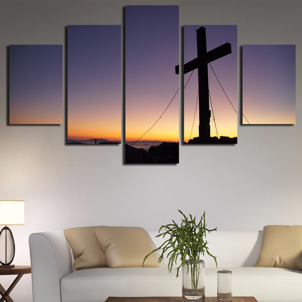 5 Panels Christian Church Cross Wall Art Picture Home Decor Living Room Canvas Printed Printing