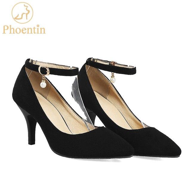 b93411ddad9 Phoentin black women s high heel shoes pointed toe buckle ladies pumps 2019  plus size 48 pearl shoes women ankle strap FT339