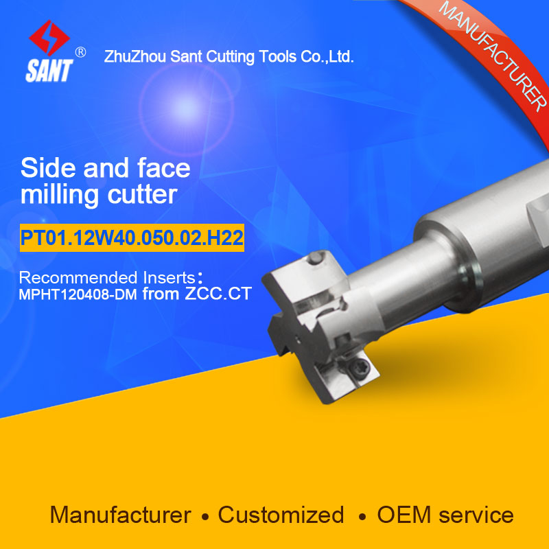 Indexable milling cutter Match insert MPHT120408-DSide and face milling cutter disc PT01.12W40.050.02.H22/TMP01-050-XP40-MP12-02