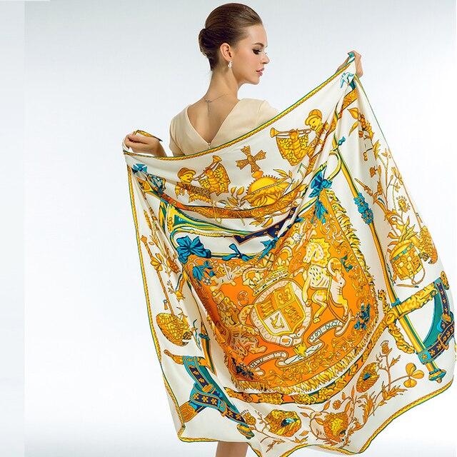 2018 Marque De Luxe Foulard De Soie Femmes Imprimer Carré Châle Hijab  Écharpes de la Mode 2a4ad1f0011