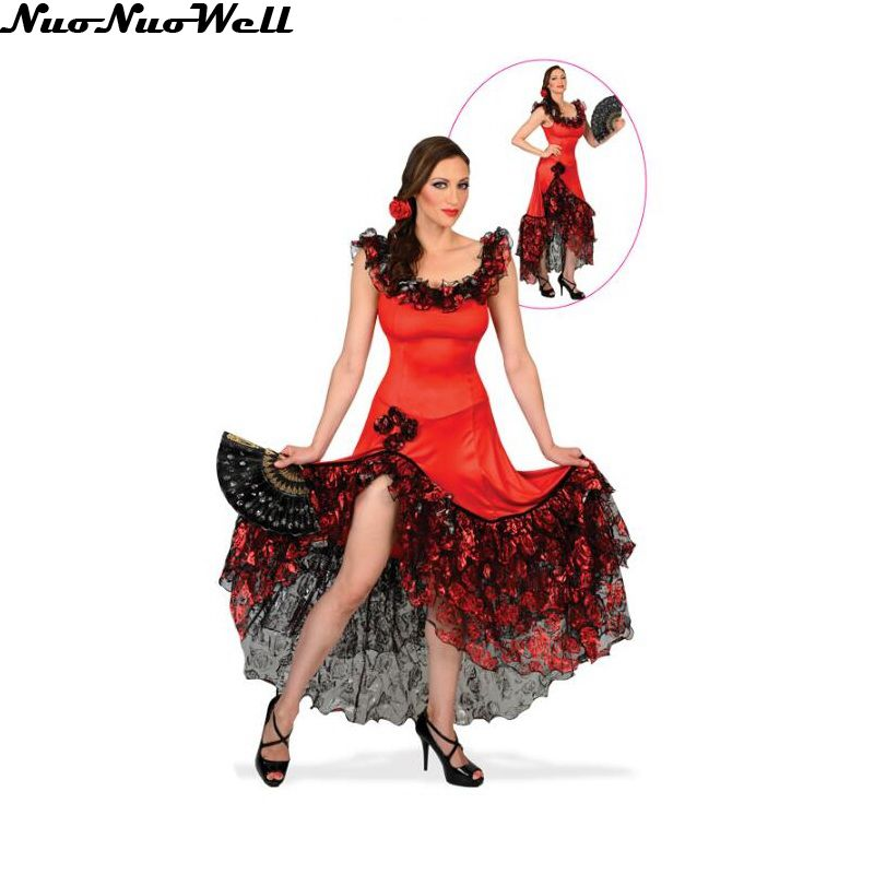Halloween Women's Belly Dance Costumes Gypsy Girl's Costume Spanish Dance Red Dress With Beautiful Black Hemlines For Party Show