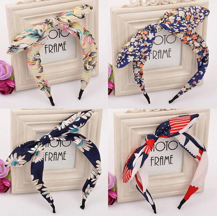 1pc! Floral Bow Hair Hoop Bowknot Kaninør Hairband For Girls Tøj Art Hair Accessories Women Headdress