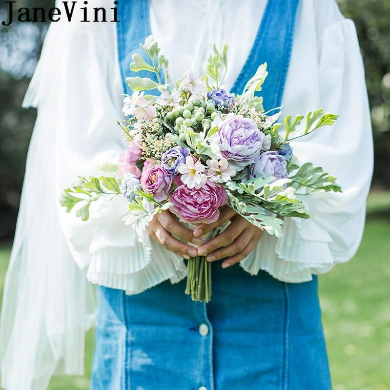 JaneVini Silk Bridesmaid Bouquets Artificial Peony Rose Trouw Boeket 2019 Small Size Bridal Wedding Bouquet Handle Bride Flowers