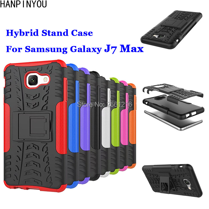 "For Samsung Galaxy J7 Max G615F 5.7"" New Dazzle Shockproof Soft Silicon & Hard Plastic Dual Armor Back Case Stand Holder Cover"