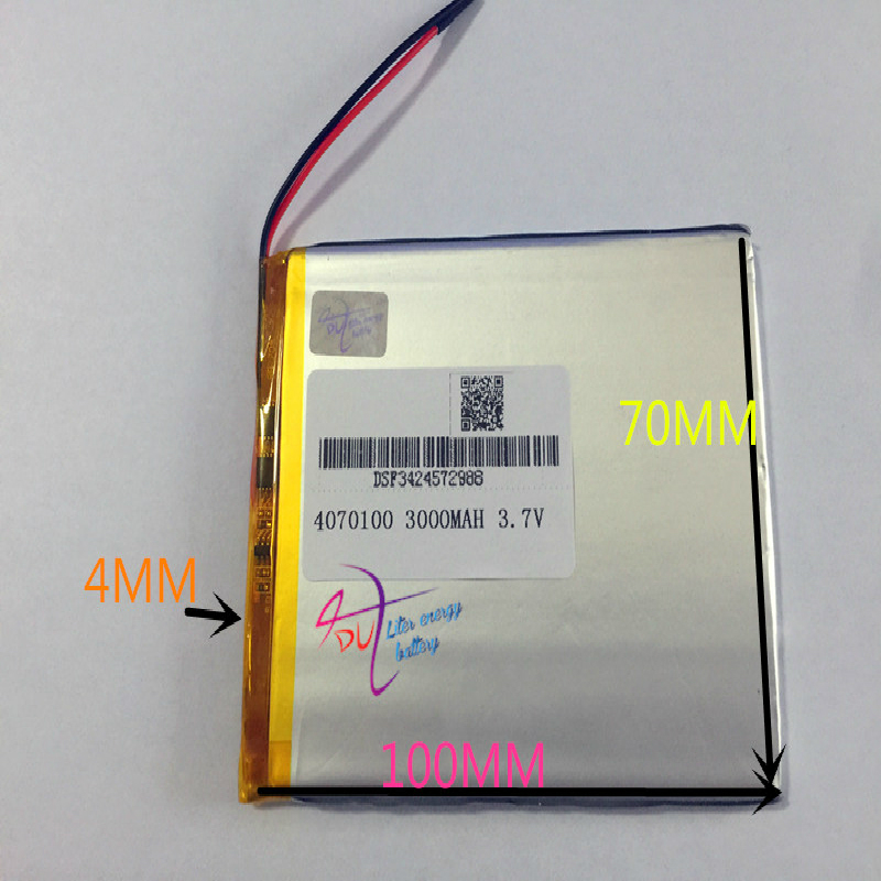 10 pcs 3.7V 3000mAh <font><b>4070100</b></font> Polymer Lithium Li-Po Rechargeable Battery For MP5 GPS E-book Tablet PC video game image