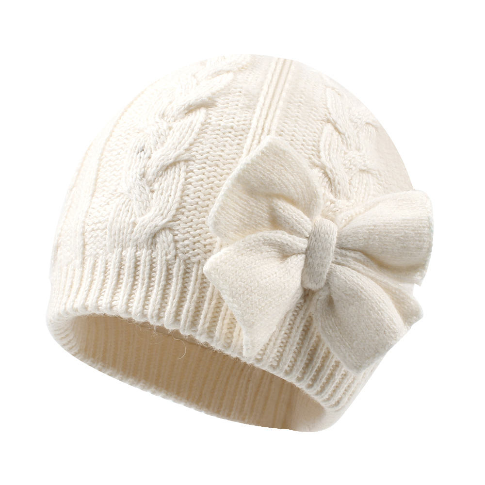 Cute Bow Baby Girls Hat Winter Warm Knitted Baby Hat For Girls Cotton Lined Infant Toddler Hat Autumn Twins Cap Parent-Child Cap