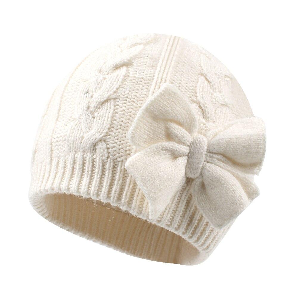 Nette Bogen Baby Mädchen Hut Winter Warme Gestrickte Baby Hut für Mädchen Baumwolle Gefüttert Infant Kleinkind Hut Herbst Twins Kappe eltern-Kind Kappe