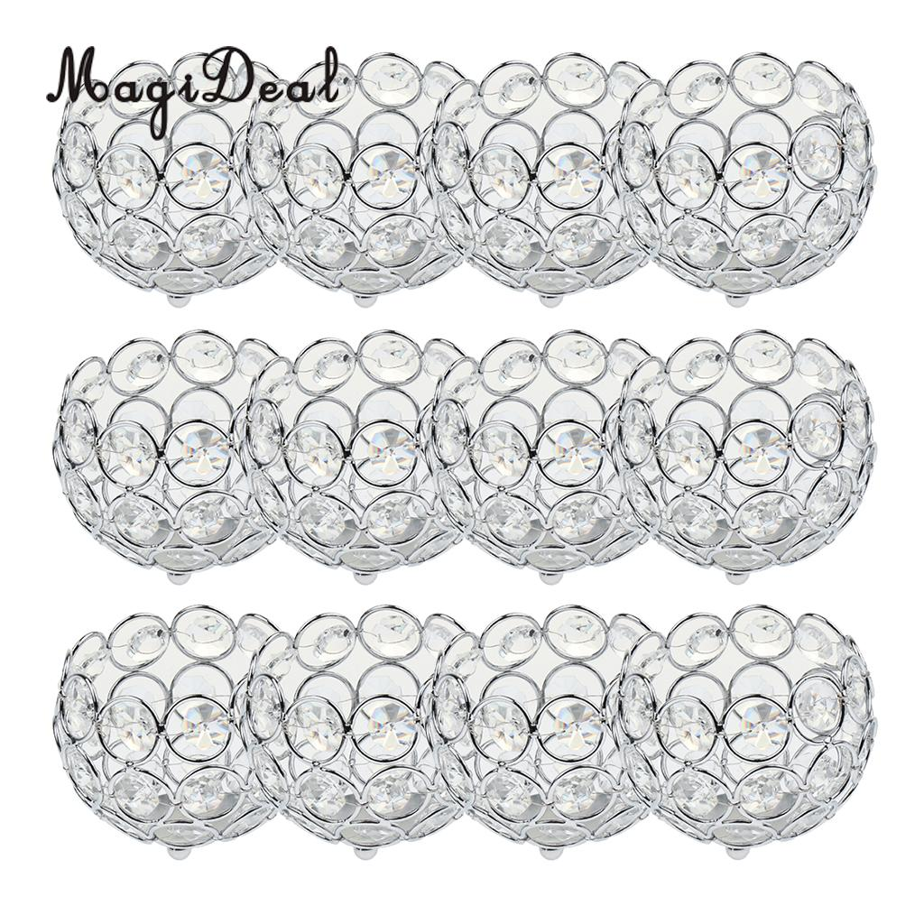 12 Pieces Votive Tea Light Candle Holders Silver Gold Crystal Beads Candlestick Wedding Table Centerpieces Home