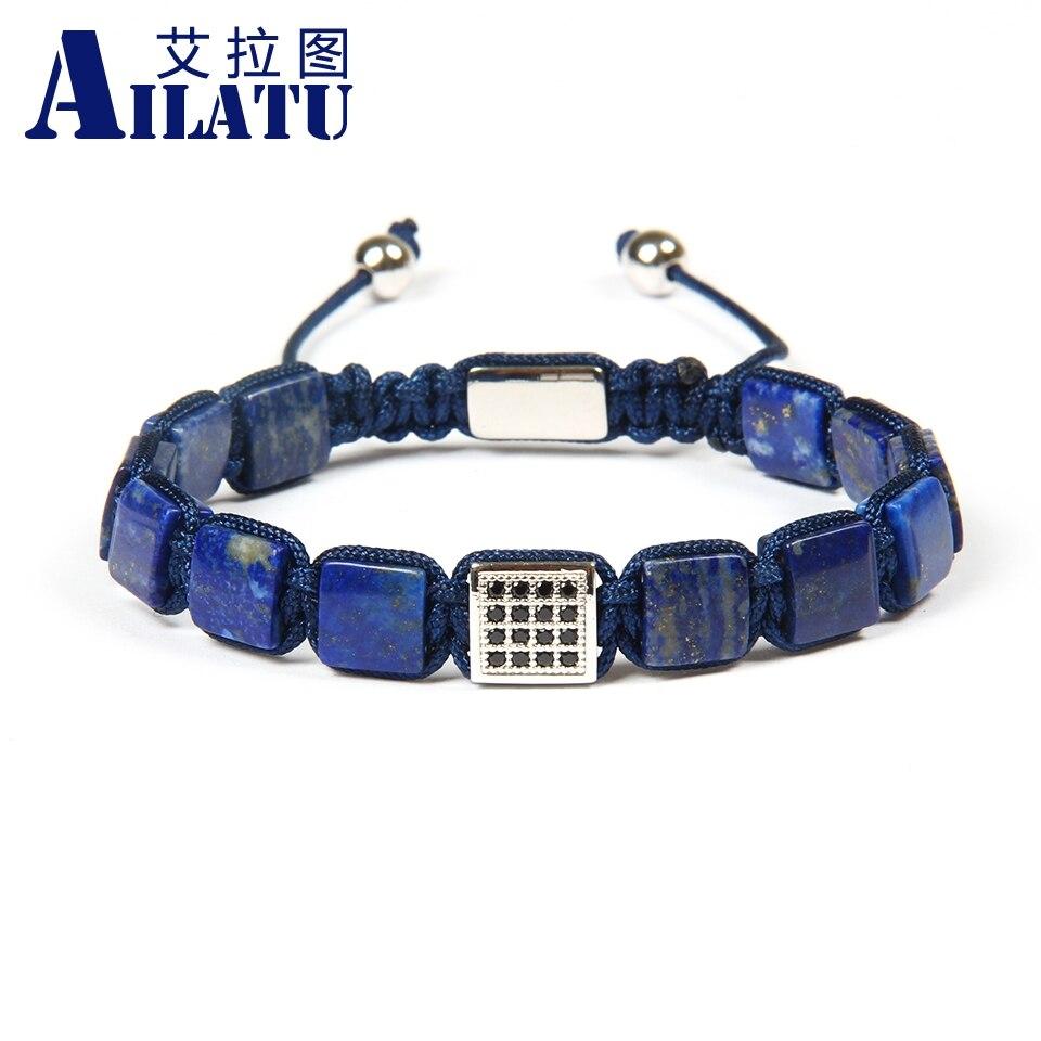 Ailatu Groothandel 10 stks/partij 8x8mm Natuurlijke Lapis Lazuli Stenen Kralen met Zwarte Cz Vierkante Macrame Polsband armband voor cool mannen-in Strandarmbanden van Sieraden & accessoires op  Groep 2
