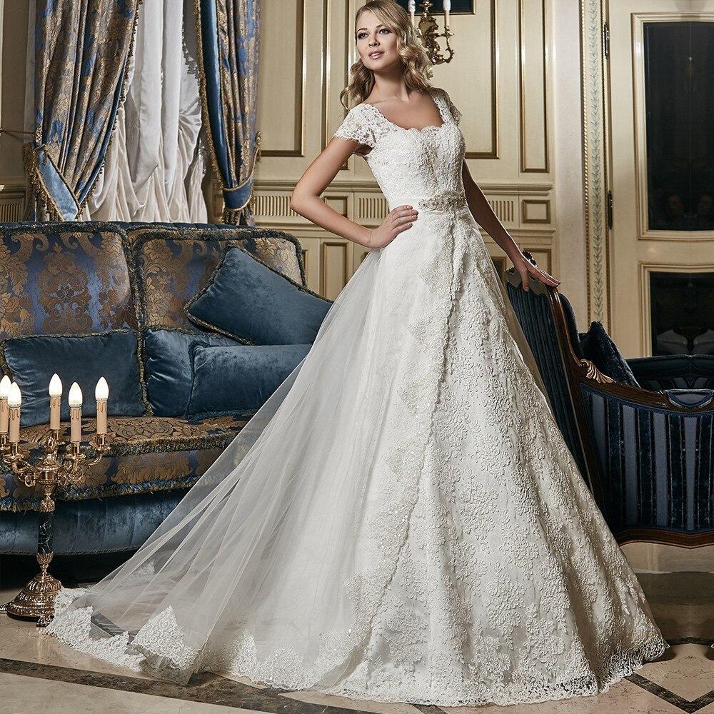 Vestido de noiva 2 em 1 Una Línea de Novia De Tren Desmontable vestido  de la Nu