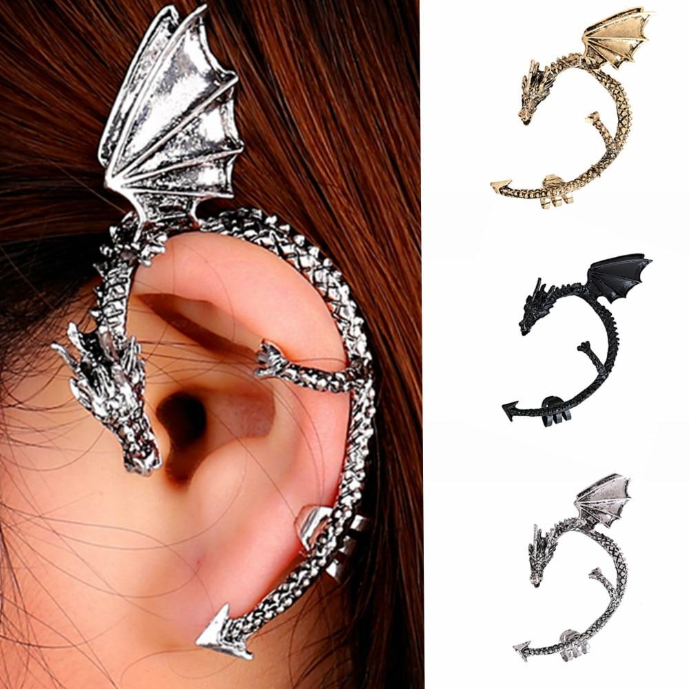 Retro Vintage Gothic Rock Punk Twine Dragon Shape Ear Cuff Earring Earrings  For Women Men Earrings