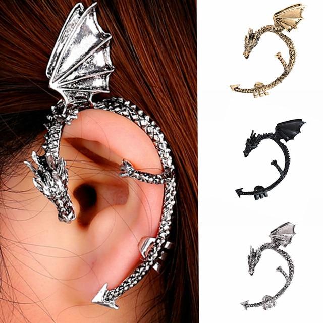 Retro Vintage Gothic Rock Punk Twine Dragon Shape Ear Cuff  Earring 2