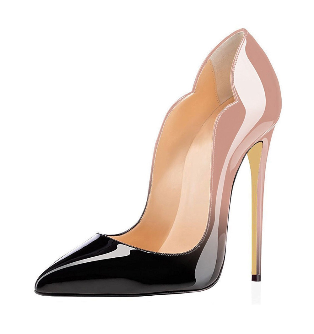 ФОТО Women's 120mm Pointed Toe Pumps Sexy High Heels Slip-on Court Shoes Elegant Super Stilettos Cut-out Dress Shoes