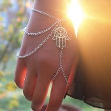 цена на Fashion Tassel Chain Linked Finger Bracelet Palm Shape Multi Layered Charm Bracelets for Women Hand Jewelry Wholesale L002