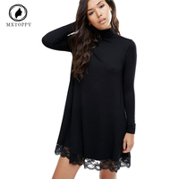 Autumn Women S Long Sleeve Tunic Winter Dress Crochet Turtleneck Black Lace Dress Female Casual Dress