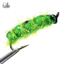 Realistic Fly Fishing Flies Set 16pcs Butterfly Larvae Beetle Dry Flies  Insect Lure for PikeTrout Lure kit flyfishing