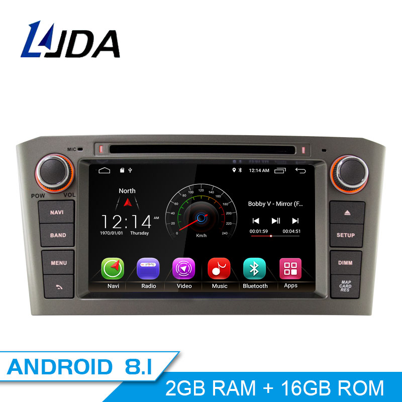 LJDA 2 Din Android 8.1 Car DVD Player For Toyota Avensis T25 2003-2008 Wifi GPS Radio 2GB RAM 16G ROM Quad Cores Multimedia USB