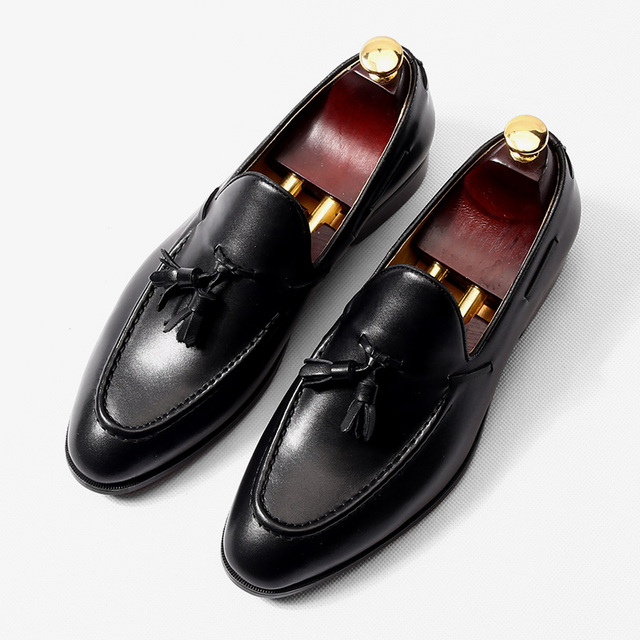 511b65d147c1 Italy Style Man Formal Business Shoes Genuine leahter Flats Slip on Tassel  Fringe Black Loafers Boats Shoes Cow Oxfords Handmade