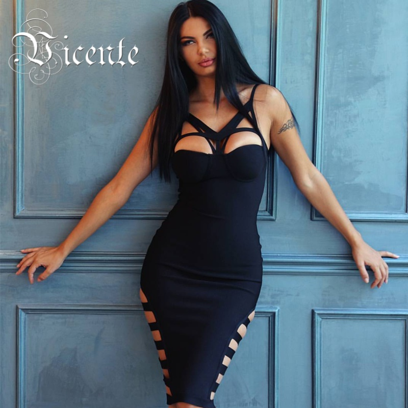 Vicente HOT 2019 New Fashion Elegant Multi Strappy Sexy Side Hollow Out Celebrity Party Style HL