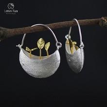 Lotus весело бренд Настоящее стерлингового серебра 925 качает серьги для Для женщин корзина листьев и бабочка Красивые ювелирные изделия падение Серьги дропшиппинг