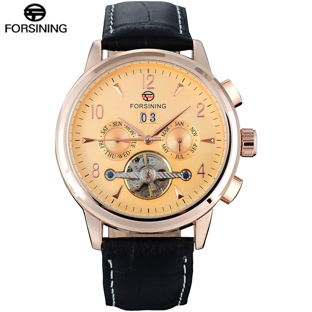FORSINING Classic Fashion Mens Watches Tourbillion Genuine Leather Top Brand Luxury Complete Calendar Automatic Mechanical Watch mens mechanical watches top brand luxury watch fashion design black golden watches leather strap skeleton watch with gift box