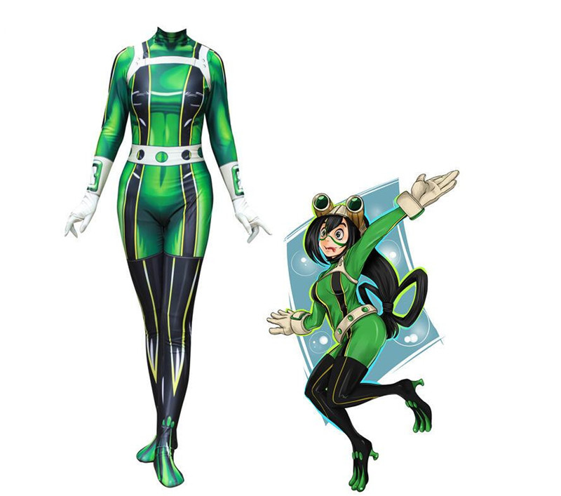 My Hero Academia Froppy Tsuyu Asui Cosplay Costume Spandex Zentai Suit Women Bodysuits Halloween costume A472