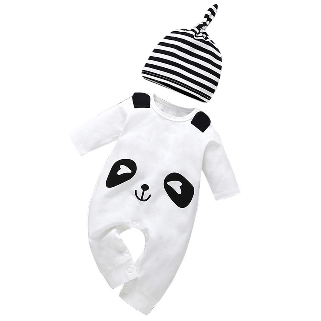 ARLONEET Fashion cute Baby Newborn Infant Toddler Baby Boy Cartoon Panda Hat Jumpsuit Romper Clothes  Z0204 emblem