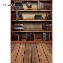Laeacco Old Bookshelf Library Wooden Floor Kid Student Teacher Portrait Photography Backdrops Photo Backgrounds For Photo Studio