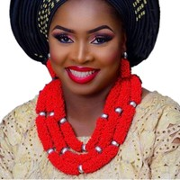 Nigerian Jewelry Set for Women Big Bold Red African Necklace and Earring Set 3 Layers Jewellery African Set Traditional 2018 New